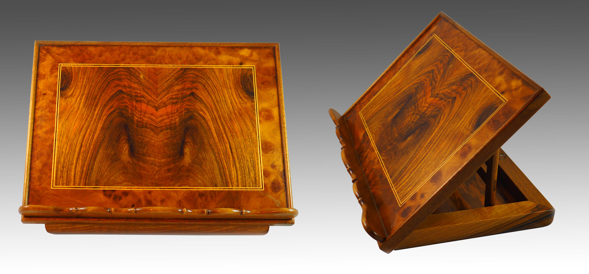 Lectern. Burr Walnut and Walnut Palm