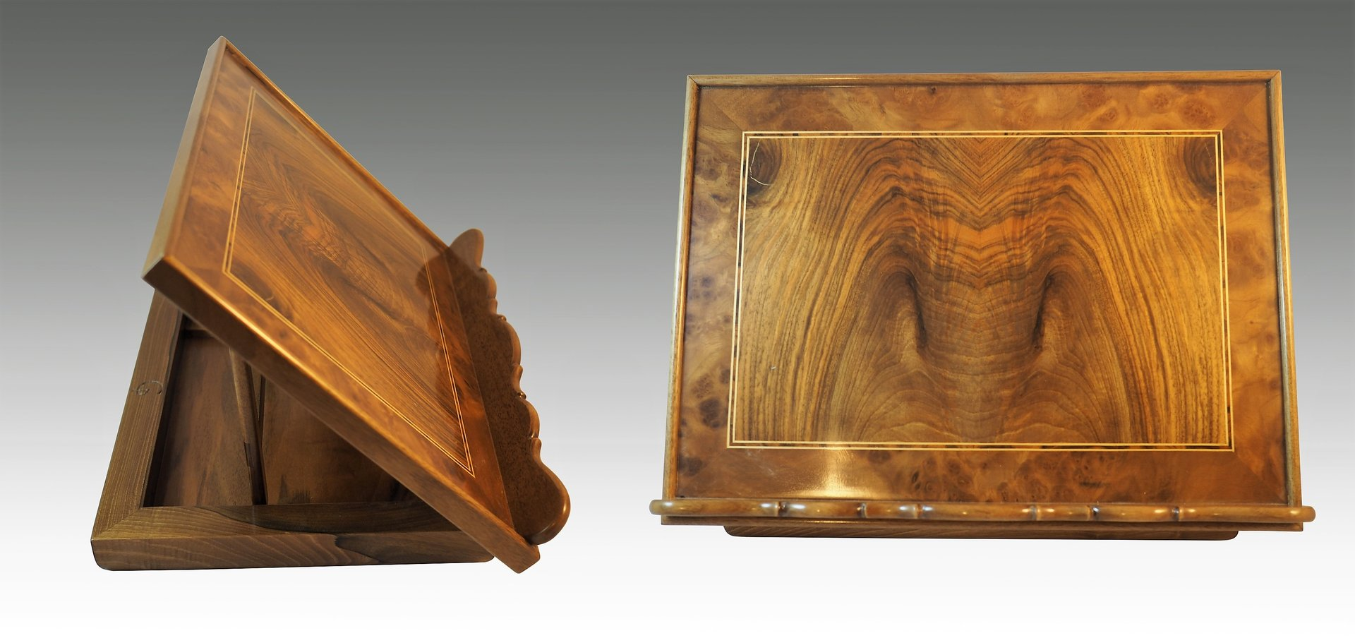 Lectern. Burr walnut and palm walnut
