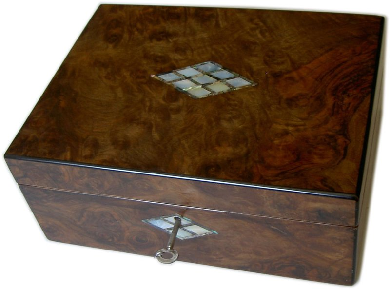 Victorian walnut writing slope with mother of pearl decoration