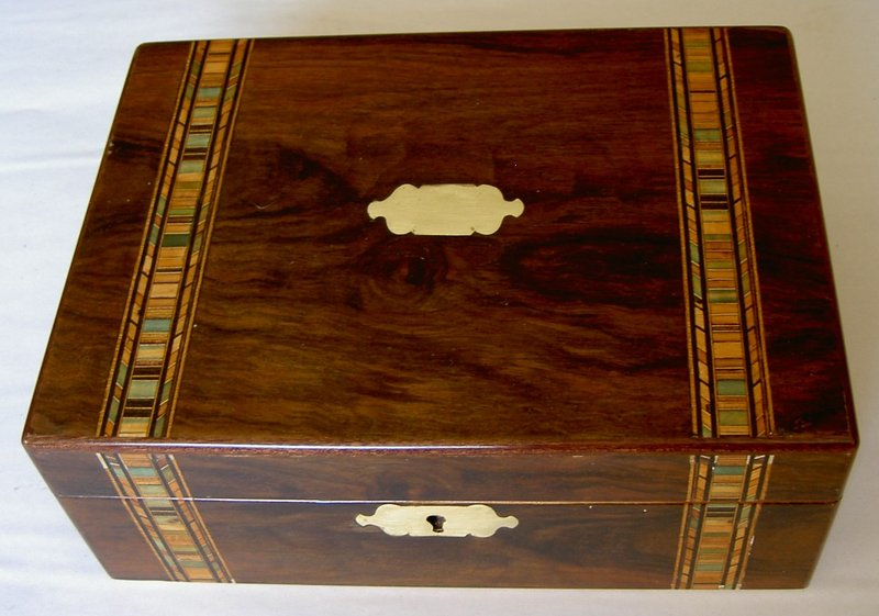 Victorian walnut box Tunbridge Ware