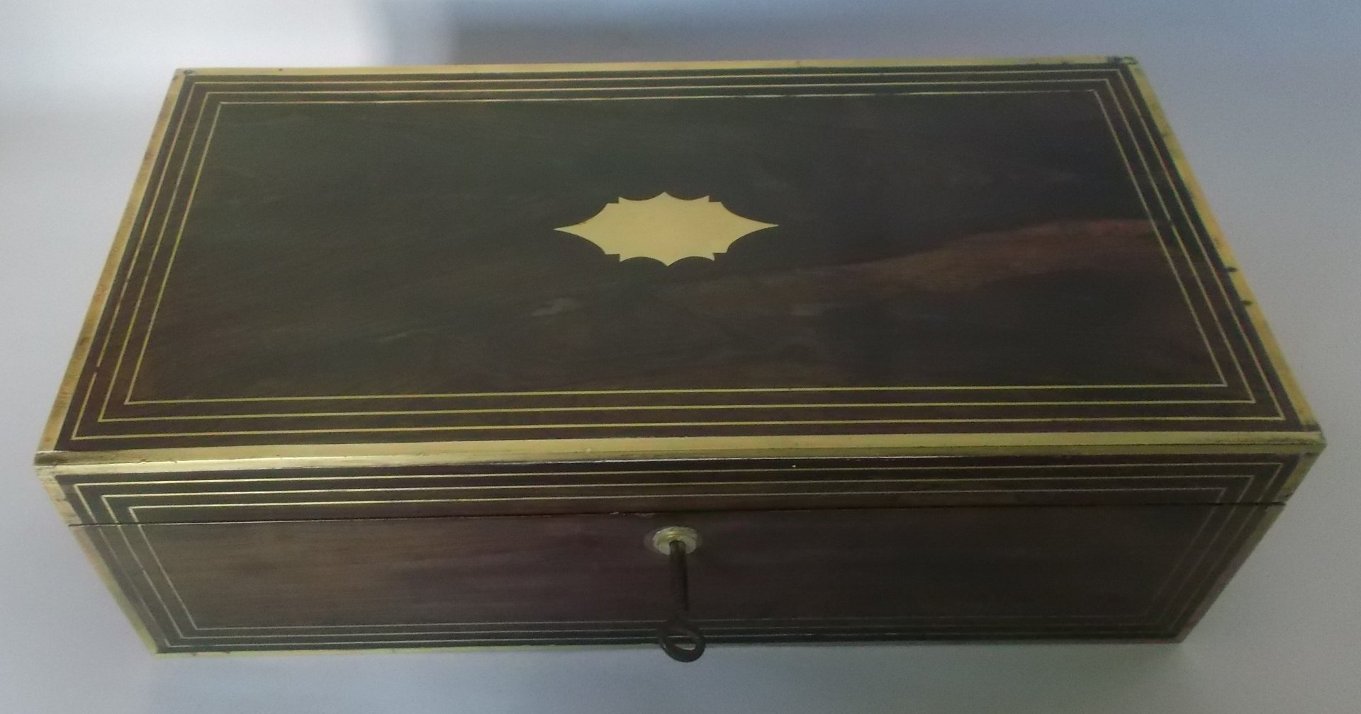 Rosewood and brass writing slope box