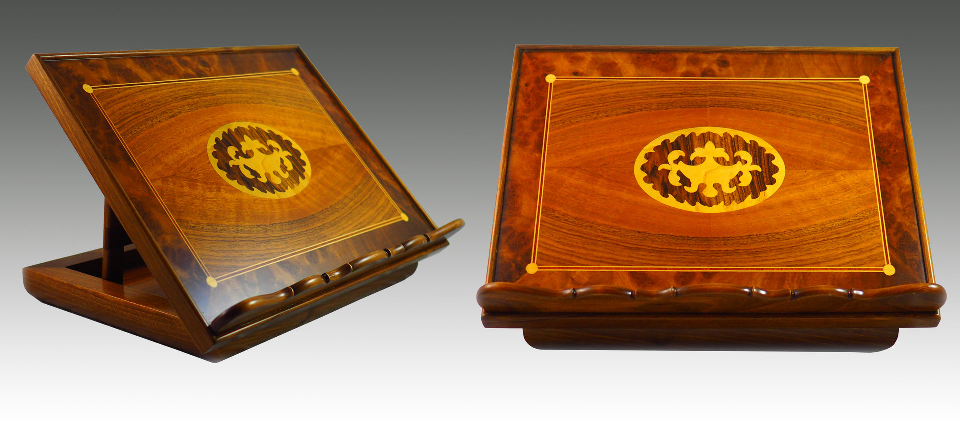Walnut Lectern with marquetry