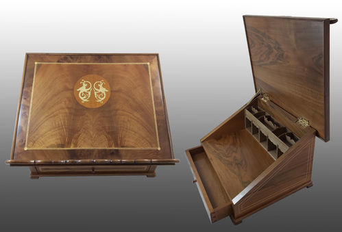 Walnut and marquetry lectern