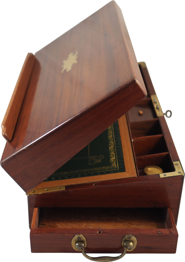 Georgian mahogany writing box lectern. Circa 1800