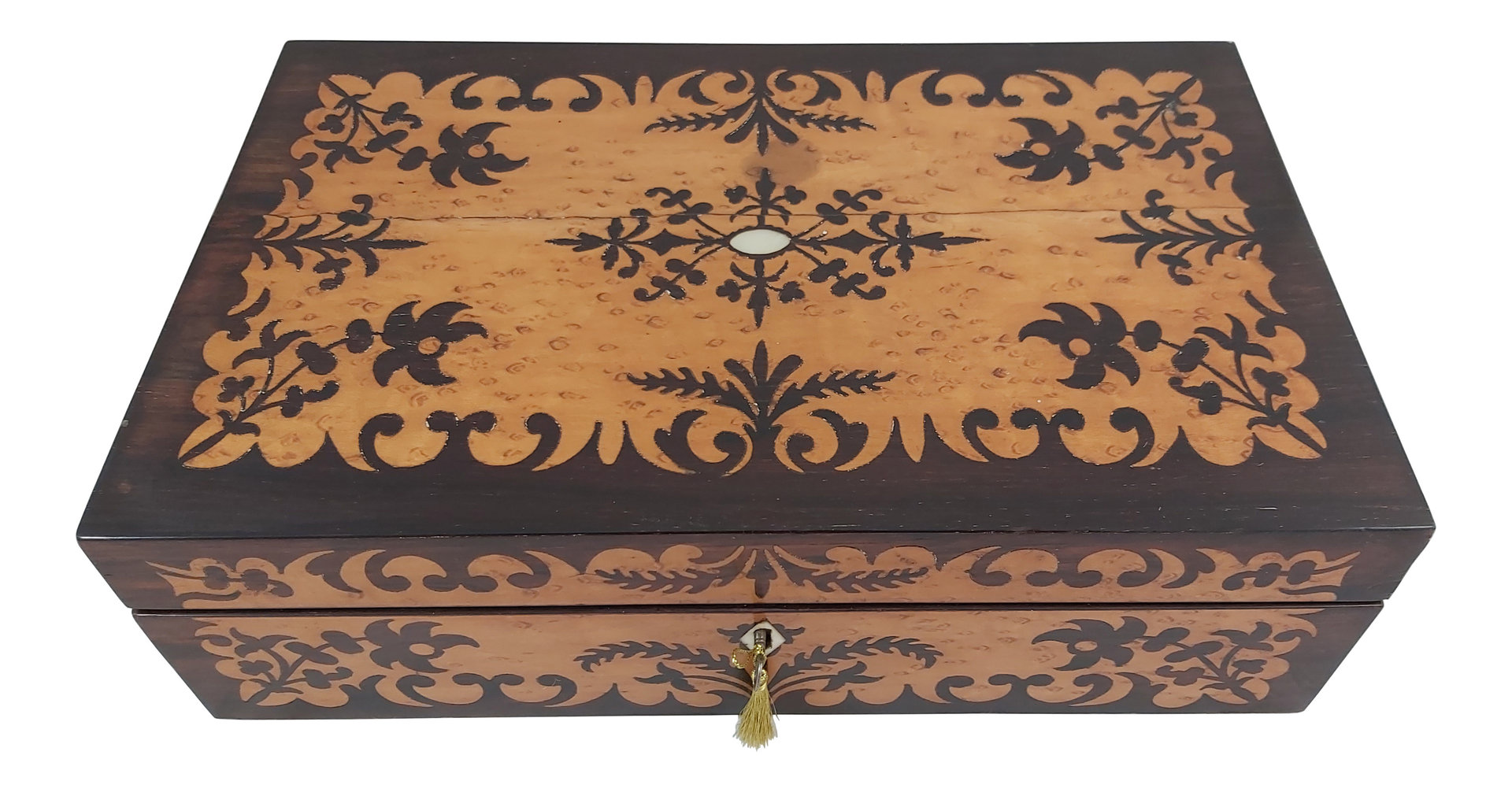 Marquetry writing slope box. Circa 1840