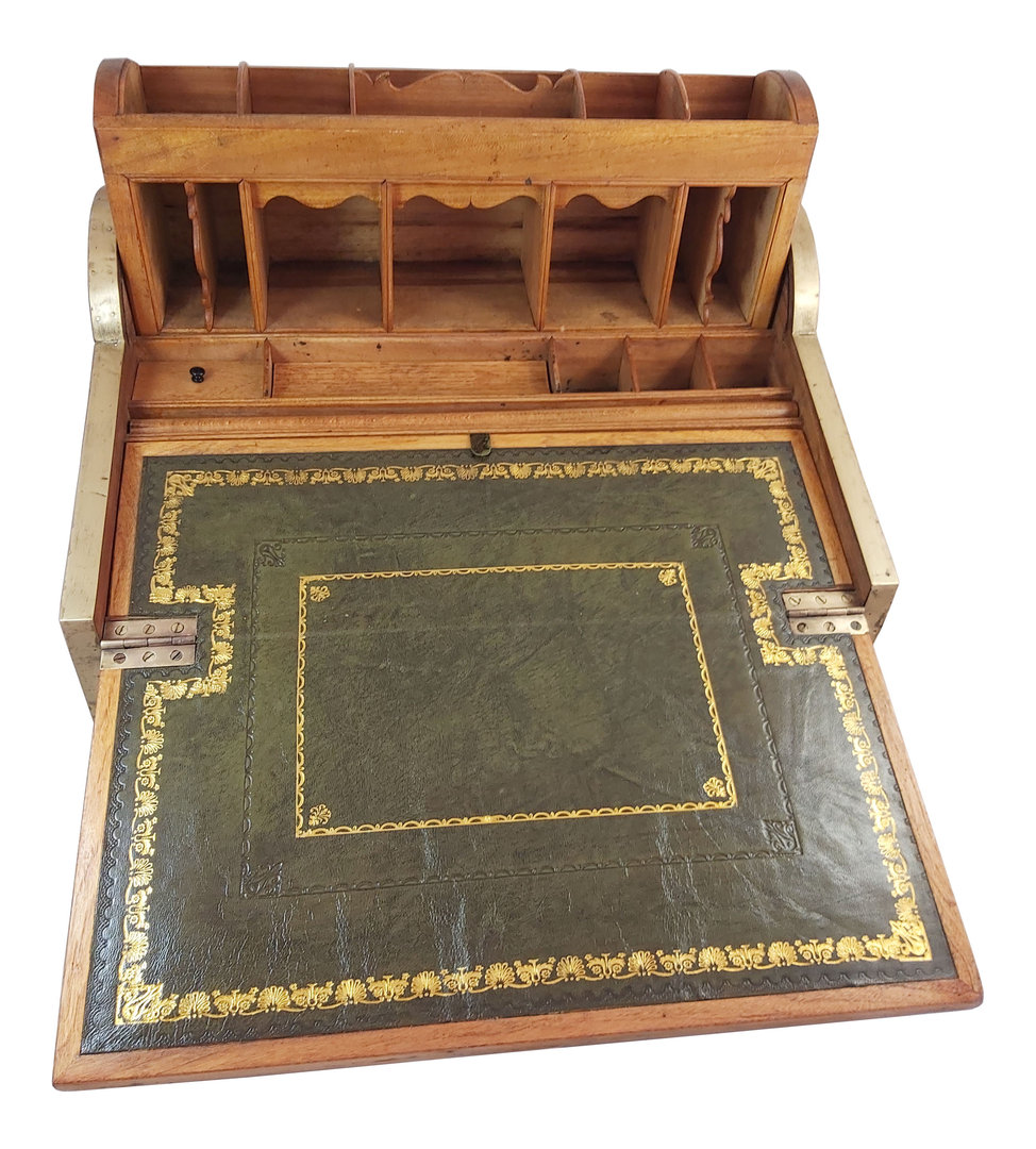 Quality 19th Century Military Campaign Camphor Wood Roll Top Writing Slope