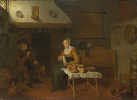 QUIRINGH GERRITSZ VAN BREKELENKAM. An Interior, with a Man and a Woman seated by a Fire\\n\\n01/11/2011 00:20